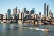 Fototapete - New York City Brooklyn Bridge downtown skyline