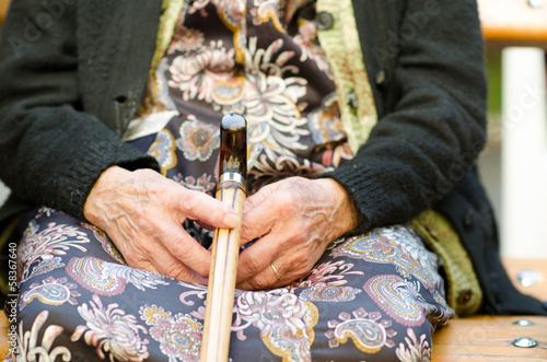 Woman with a cane