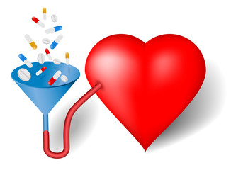 Red heart and funnel, pills