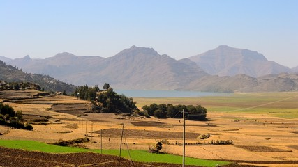 Ethiopian landscape in the Korem region with Ashenge Lake