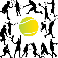 tennis player collection - vector