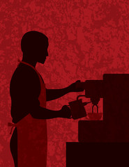 Male Coffee Barista on Textured Background Illustration
