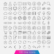 100 line icon set. Trendy thin and simple icons for Web and Mobi - 58369445