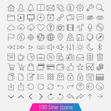 100 line icon set. Trendy thin and simple icons for Web and Mobi poster