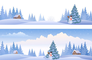 Winter day banners