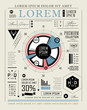 Retro infographic, typography set