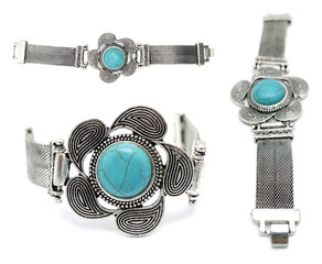 Silver and turquoise gemstone bracelet