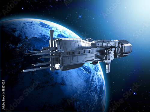 spaceship with planet earth - 58371025