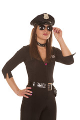 Woman cop hold glasses with hand