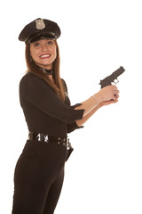 Woman cop hold pistol yikes