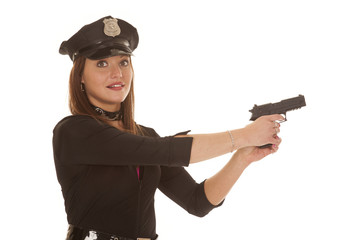Woman cop point pistol to side