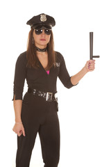 Woman cop with stick up