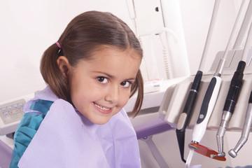 pretty little girl in dentist office