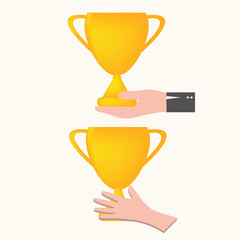 hand holding trophy, vector