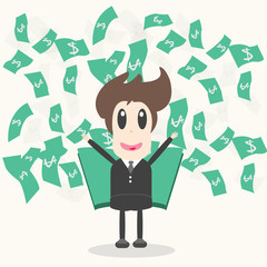 Business Man with money Vector Illustration