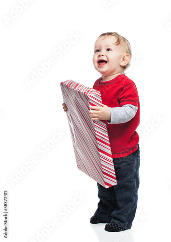 Happy Baby with Christmas Gift
