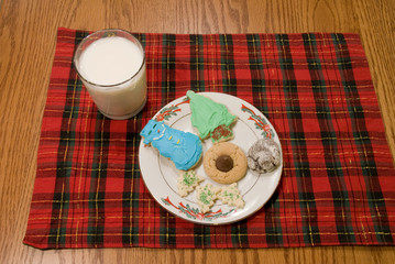 Christmas Cookies and Milk on Plaid Placemat