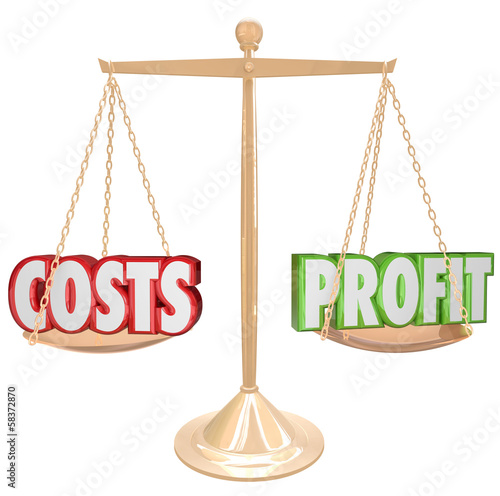 Costs vs Profit Gold Balance Weighing Words