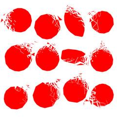 Set of red broken shapes