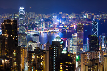 Urban Cityscape in Hong Kong at night