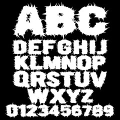 Vector set of white studded scary alphabet