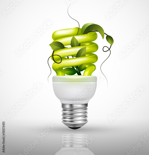 Ecological lightbulb with green leaves, Energy saving concept