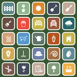 Gardening flat icons on green background