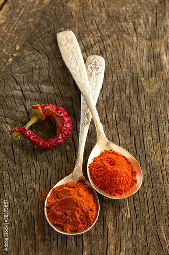 Spicy and sweet pepper in a spoon.