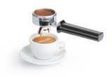 Espresso cup and filter holder on white background