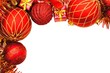 Red Christmas border of baubles and decor