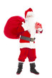 santa claus holding gift box and gift bag