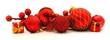 Arrangement of red Christmas baubles and decor