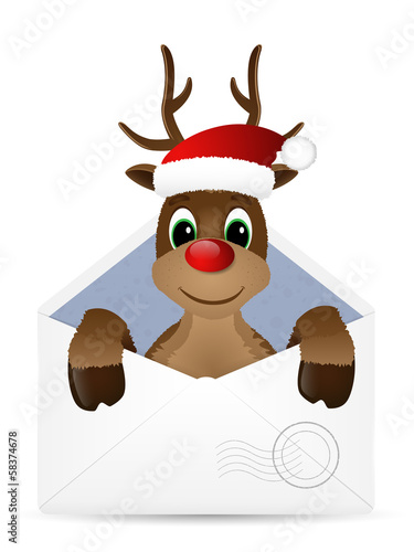 Open envelope with reindeer. Vector illustration.