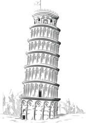 Sketch of Italy Landmark - Leaning Tower of Pisa
