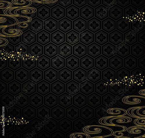 おせち 広告用 黒地に流水と金箔 和風背景