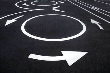 Circular motion road markings