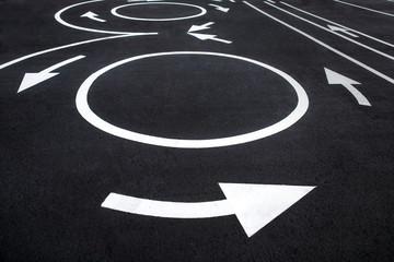 Circular motion road markings