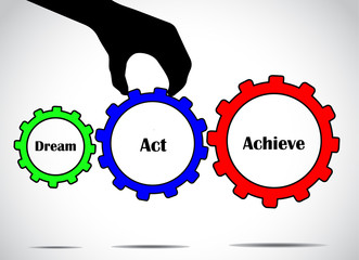 Dream act or take action and achieve your goals concept gears
