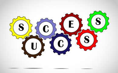 success team work progress concept colorful gears vector