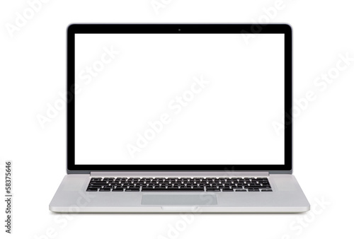 Front view of a modern laptop with a white screen and an English