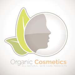 Organic cosmetics symbol for all natural skin care products