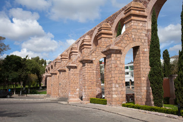 Old aqueduct of colonial city Zacatecas, Mexico