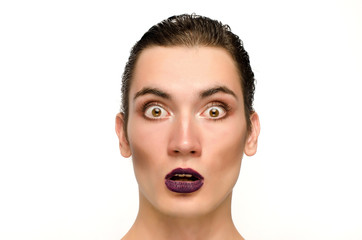 Surprised man wearing make up, Portrait of a drag queen