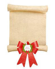 Christmas scroll with big red bow