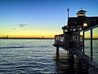Pier Cafe at Sunset Seaport Village San Diego California USA