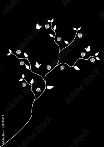 Tree and butterflies black and white