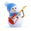 Snowman plays electric guitar