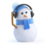 Snowman has some new headphones