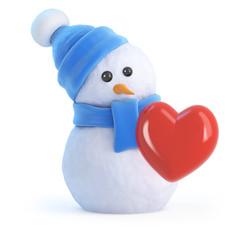 Snowman has a heart