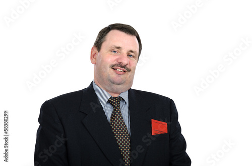 Chubby Russian businessman grins
